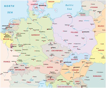 Europa Środkowa na mapie Ilustracje wektorowe