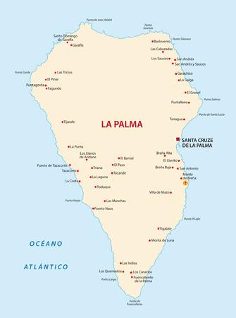 canary islands: la palma map Illustration
