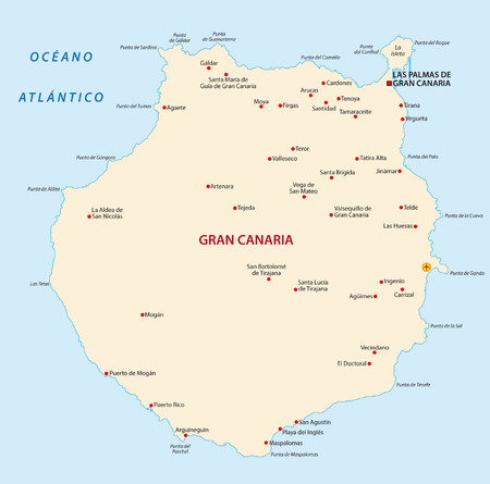 gran canaria: gran canaria map Illustration