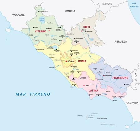 lazio: lazio administrative map Illustration