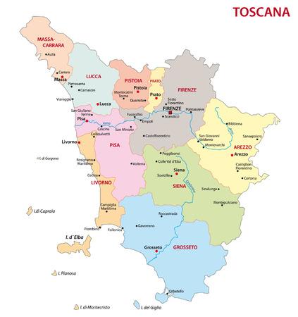 florence italy: Toscana Mappa amministrativa Vettoriali