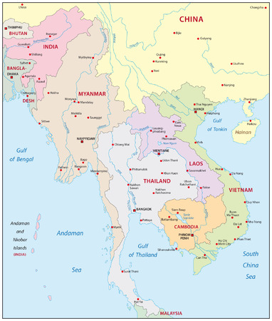 cambodia: map of south east asia
