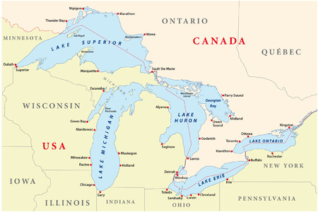 new york map: map of great lakes