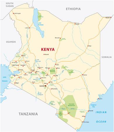 kenya road and national park map Illustration