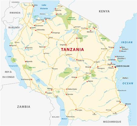 탄자니아 도로 및 국립 공원지도