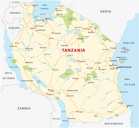 national park: tanzania road and national park map