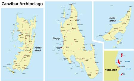 archipelago: zanzibar map
