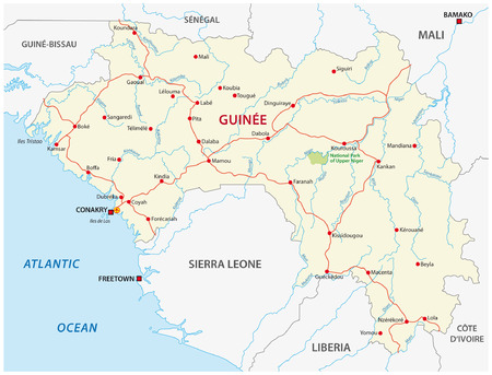 guinea: guinea road map Illustration