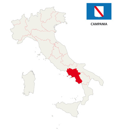 political division: campania map with flag Illustration