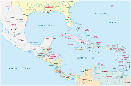 america central and caribbean map