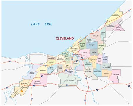 cleveland administrative map Ilustração
