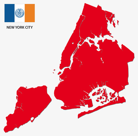 boroughs: new york city map with flag