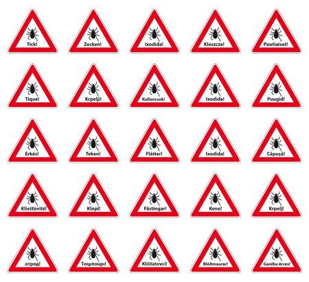 magyar: tick warning label in 25 languages