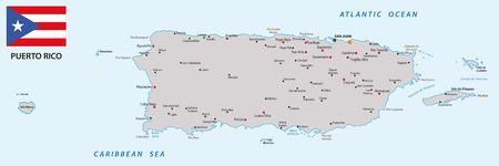 bandera de puerto rico: mapa Puerto Rico con la bandera Vectores