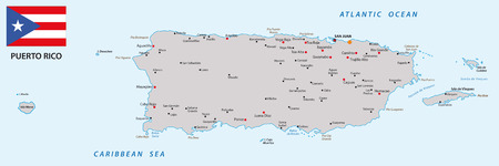 atlantic city: puerto rico map with flag Illustration