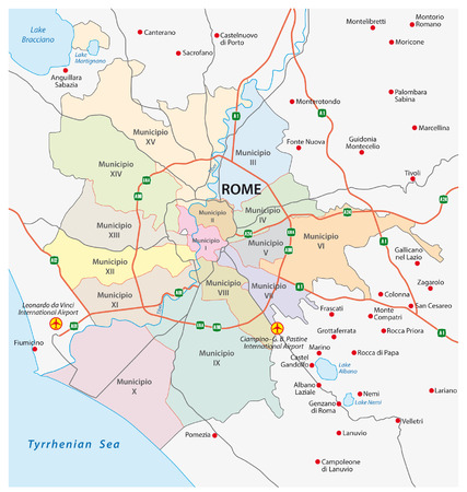 municipalities: rome road and administrative map Illustration