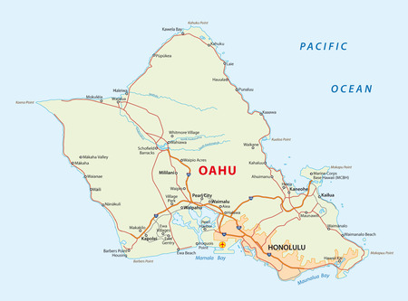 oahu: hawaiian island oahu map Illustration
