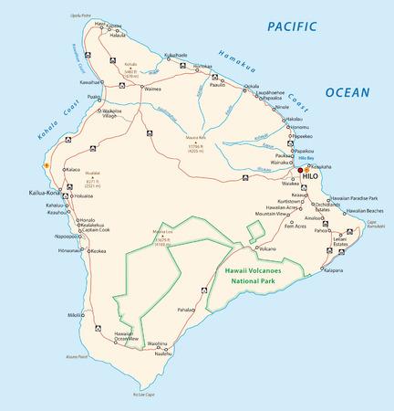 빅 아일랜드, 하와이,지도 스톡 콘텐츠 - 34042875