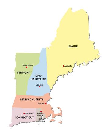 nowy: New England Zjednoczone Mapa Ilustracja