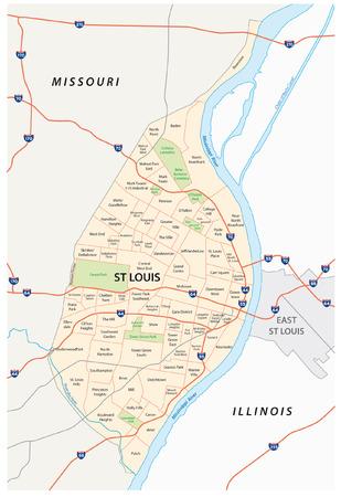 セントルイス道路や行政上の地図