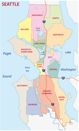 lake district: seattle administrative map Illustration