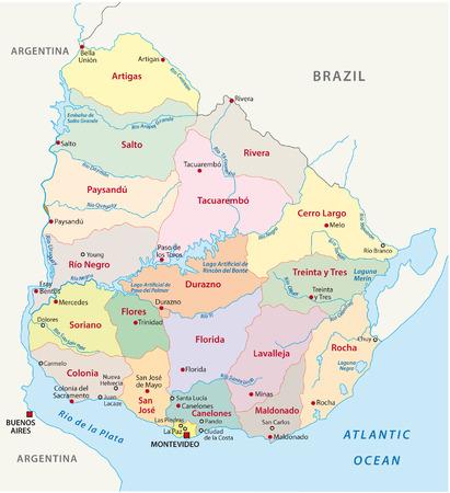uruguay: uruguay administrative map Illustration