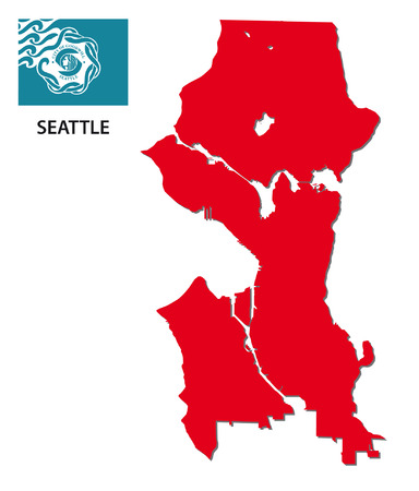 seattle: seattle map with flag