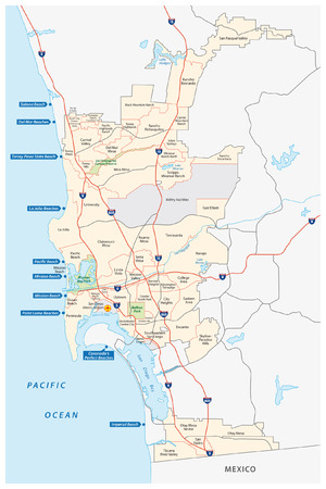 california state: san diego administrative, road  and beach map Illustration