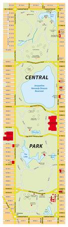 central park: mapa del parque central, new york city