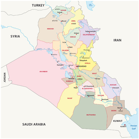 syria: Iraq administrative divisions map