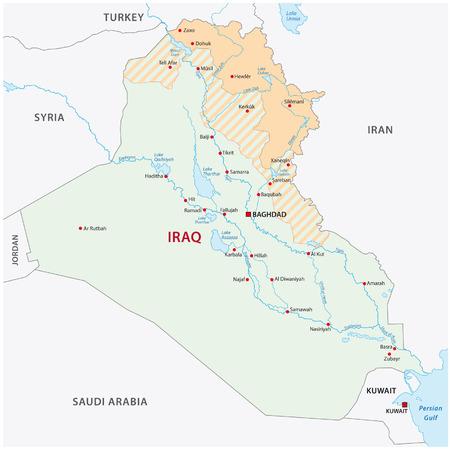 イラクのクルジスタンの地図