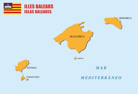 majorca: balearic islands map with flag Illustration