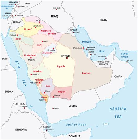 gulf: saudi arabia administrative map