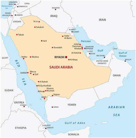 gulf: saudi arabia map Illustration