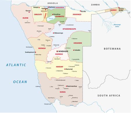 kalahari desert: namibia administrative map