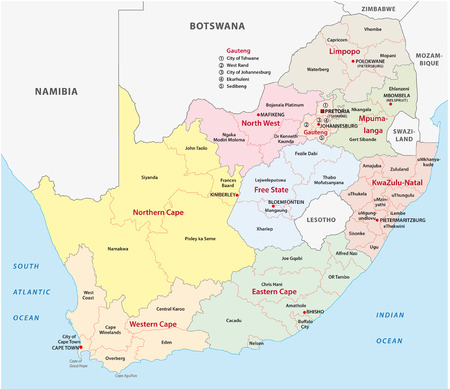 map of africa: south africa administrative map