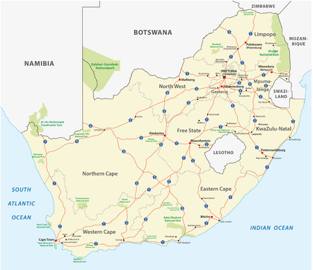 south africa map: south africa road map