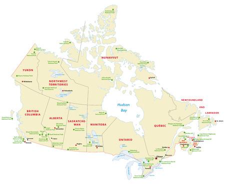 カナダ国立公園の地図