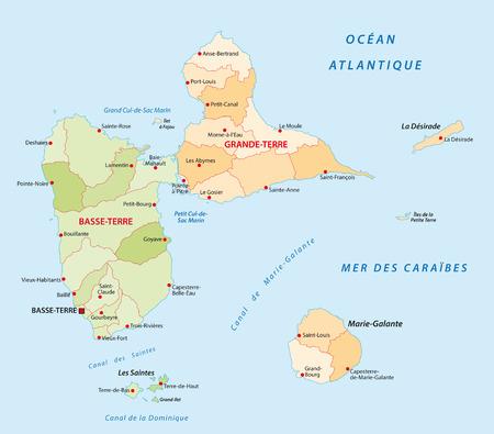 guadeloupe: guadeloupe administrative map Illustration