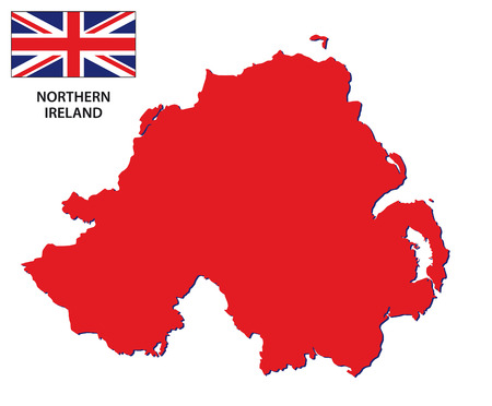 northern ireland map with flag Vector