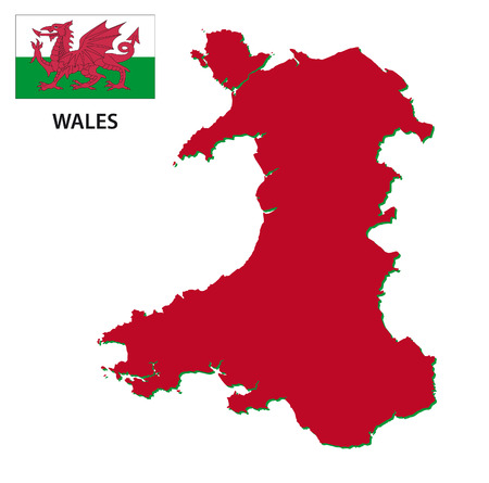 wales: wales map with flag