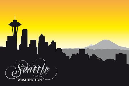 seattle skyline: seattle skyline,silhouette Illustration