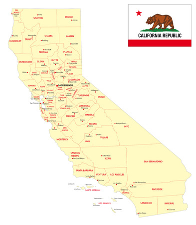california administrative map with flag