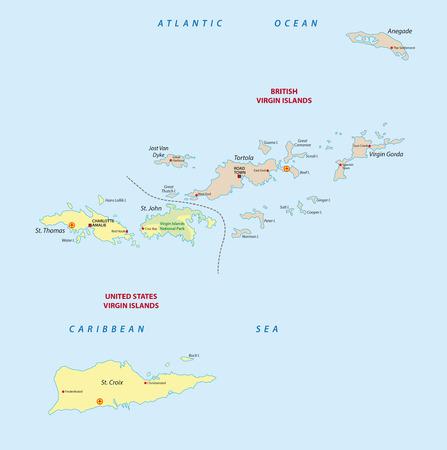 Map us virgin islands and british virgin islands