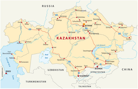 Kazakhstan Political Map With Capital Astana National Borders