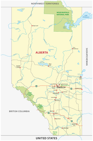 edmonton: alberta road and national park map Illustration