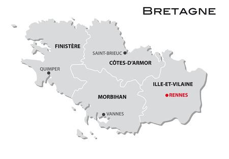 eenvoudige administratieve kaart van Bretagne Stock Illustratie