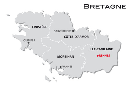 simple administrative map of brittany Иллюстрация