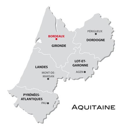 simple administrative map Aquitaine Ilustração