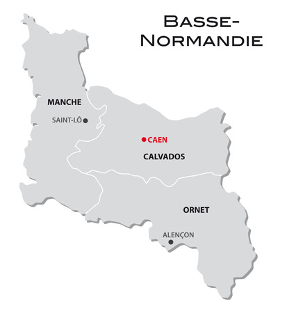 normandy: simple administrative map Lower Normandy Illustration